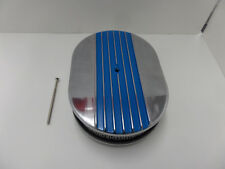 """12"""" x 2'' Oval Half Finned Blue Polished Aluminum Air Cleaner Classic"""