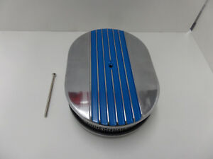 "12"" x 2'' Oval Half Finned Blue Polished Aluminum Air Cleaner Classic"