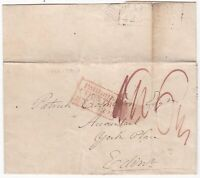 ! 1821 RED BOXED PAID IN THE COUNTRY ADDED EDINBURGH FALKIRK MILEAGE PMK WRAPPER