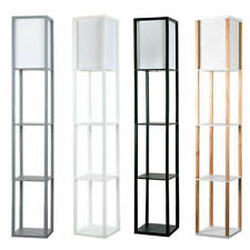Stylish Floor Lamp with Shelves Standard Lounge Light 4 Tiered Shelving Unit Hom