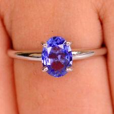 Natürlich Blau Tansanit Ovale Form 2,30Kt 925 Sterling Silber Hochzeit Ring