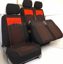 IN STOCK ! VW TRANSPORTER T5 VAN SEAT COVER BLACK CLOTH RED QUILTED STITCH P40RD