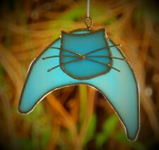 BLUE MOON CROUCHING CAT Stained Glass Hanging Suncatcher Handmade FELINE LOVERS