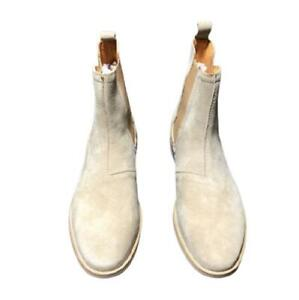 British Mens Real Suede Leather Chelsea Boots Shoes Pull on Work Business Casual
