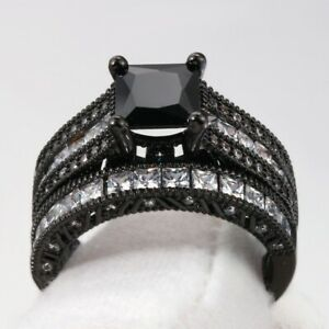Gorgeous Black Sapphire Jewelry Ring Women 925 Silver Engagement Rings Size 6-10