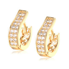 Fashion round yellow gold filled crystal womens hoop huggie earrings statement
