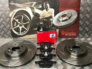 FRONT  DRILLED & GROOVED DISCS & BREMBO  PADS FORD FOCUS 2.0 2.5 ST MK2/3
