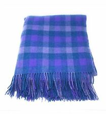 100% Pure New Wool Blanket - Blue & Purple Check - Made in Scotland
