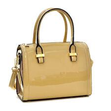 New 2018 Women Faux Patent Leather Handbag Mini Barrel Satchel Tote Bag Purse