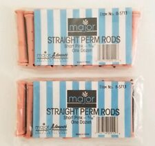 "Straight Perm Rods Short Pink 5/16"" Permanent Hair 2 Dozen Lot Of 24 Rods 2-5/8"""
