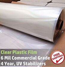 Clear Greenhouse Plastic Cover Poly Film, 4 Year 6 mil 20ft wide x 25ft long