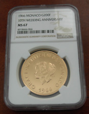 Monaco 1966 or 200 Francs NGC MS67 10th Mariage Anniversaire