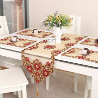 Vintage Embroidery Flower Lace Table Runner Mats Dining Room Kitchen Home Decor