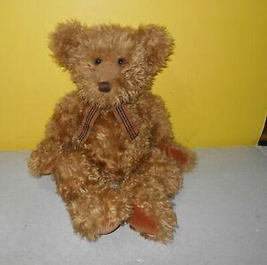 """Russ Berrie Spencer Shaggy Teddy Bear Tan Beige Plaid Bow 16"""" Bean Plush Cutie"""