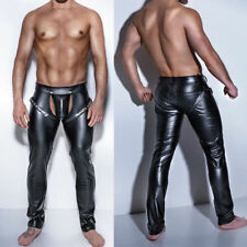 Mens Skinny Faux Leather Pants Open Crotch Club Gay Lingerie Underwear Trousers
