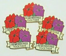5 x 'Remembered Together' Purple & Red Poppy enamel badges