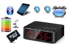 Bluetooth Lautsprecher Radio Wecker,  Freisprechfunktion + Akkubetrieb, Schwarz