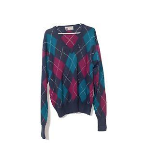 Vintage Argyle Vneck Sweater Slazenger V-Neck ARGYLE Cotton GOLF Size L