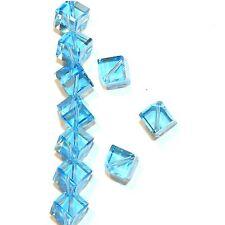 SCEA115 Aquamarine Blue 8mm Square Diamond Dice Swarovski Crystal Beads 12pc
