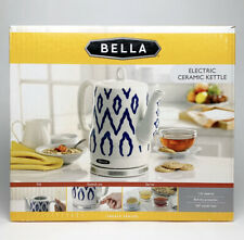Bella Electric Ceramic Kettle, White & Blue - Tea Pot Teapot Handle 1.2L, New