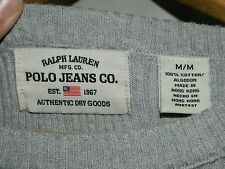 Men's Gray & White Ralph Lauren Polo Jeans Company Pullover Sweater Adult Size M