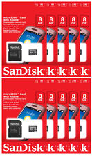 Lot of 10 SanDisk 8GB CLASS 4 micro SD SDHC Flash Memory Card PACK + ADAPTER