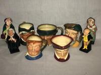 9 Royal Doulton Toby Mugs Figurines Lot- Cardinal, Granny, Fat Boy, Pickwick....