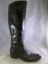 BORN CROWN WOMEN'S ROXIE WIDE CALF TALL BOOTS BROWN LEATHER 6 36.5 MEDIUM $240