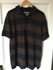 Men's Large BLUE HARBOUR Blue and Brown Rugby Polo Shirt