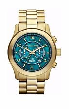 Michael Kors MK8315 Stop Hunger 100 Gold Limited Turquoise Oversized 48MM NEW