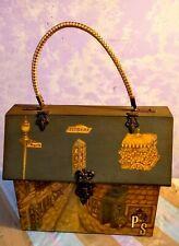 Vintage 70's Wood Box Purse Decoupage New Orleans Antiques Scenes