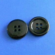 15 Large Big Coat Jacket Top Coat Craft Sewing Buttons 25mm Shiny Black 40L L174