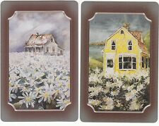 Playing Swap Cards  GENUINE 2 only single COTTAGES IN FIELDS OF FLOWERS ARTIST