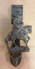 "EARLY 1900's CHAUCER ON HORSE BRASS DOOR KNOCKER CANTERBURY   5.5"" X 2.25"""