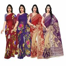 Bollywood Synthetic Georgette Saree Party Designer Sari Pack Combo of 4