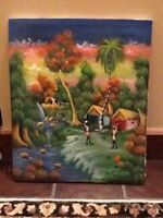 """Large Haitian Oil Painting On Canvas 24"""" Tall X 20"""" Wide Unframed"""