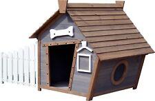 Hundehütte Hundehaus FSC mit Spitzdach und seitlicher Veranda im Comic-Design