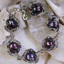 Natural Freshwater Baroque Pearl Bracelet New Fashion Elegant 10-11mm Black