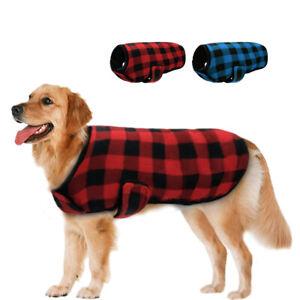 Winter Dog Clothes Small Large Dogs Plaid Coat Warm Jacket Vest Labrador S-XXL