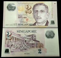 Singapore 2 Dollar Polymer Banknote World Paper Money UNC Currency Bill Note
