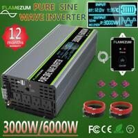 Pure Sine Wave Power Inverter 3000W 6000W DC 12V To AC 240V LCD Camping AU Plug