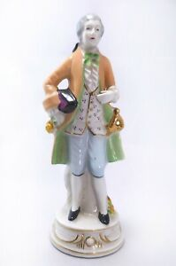 "M K  Porcelain Victorian Man Figurine Hand Painted Japan 7 1/2"""