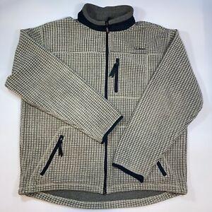 LL Bean Fleece Pullover Sweater 1/4 Zip Waffle Sz XL Tall Tan Drawstring USA