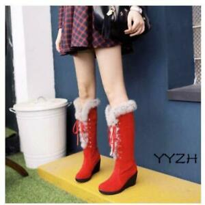 Winter Women's Fashion Warm Lace Up Fur Trim Wedge Knee High Boots Casual Shoes