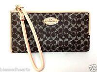 COACH Wristlet Wallet Handbag Small Pocketbook Zip Saddle Brown Authentic 52997