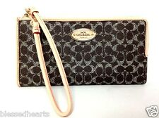 COACH Wristlet Wallet Handbag Small Pocketbook Zip 52997 Saddle Brown Authentic