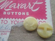 Pack of 6 vintage self shank buttons 16mm colour yellow
