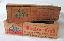 Vintage WINDSOR CLUB Wooden CHEESE BOX Lot of (2) ...Top and Bottom