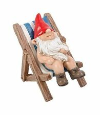 BRAND NEW GNAUGHTY GNOMES SUNBATHING GARDEN ORNAMENT