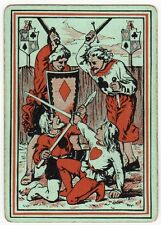 Playing Cards 1 Swap Card Old Antique Wide Square Corner SUIT SIGN KNIGHTS FIGHT